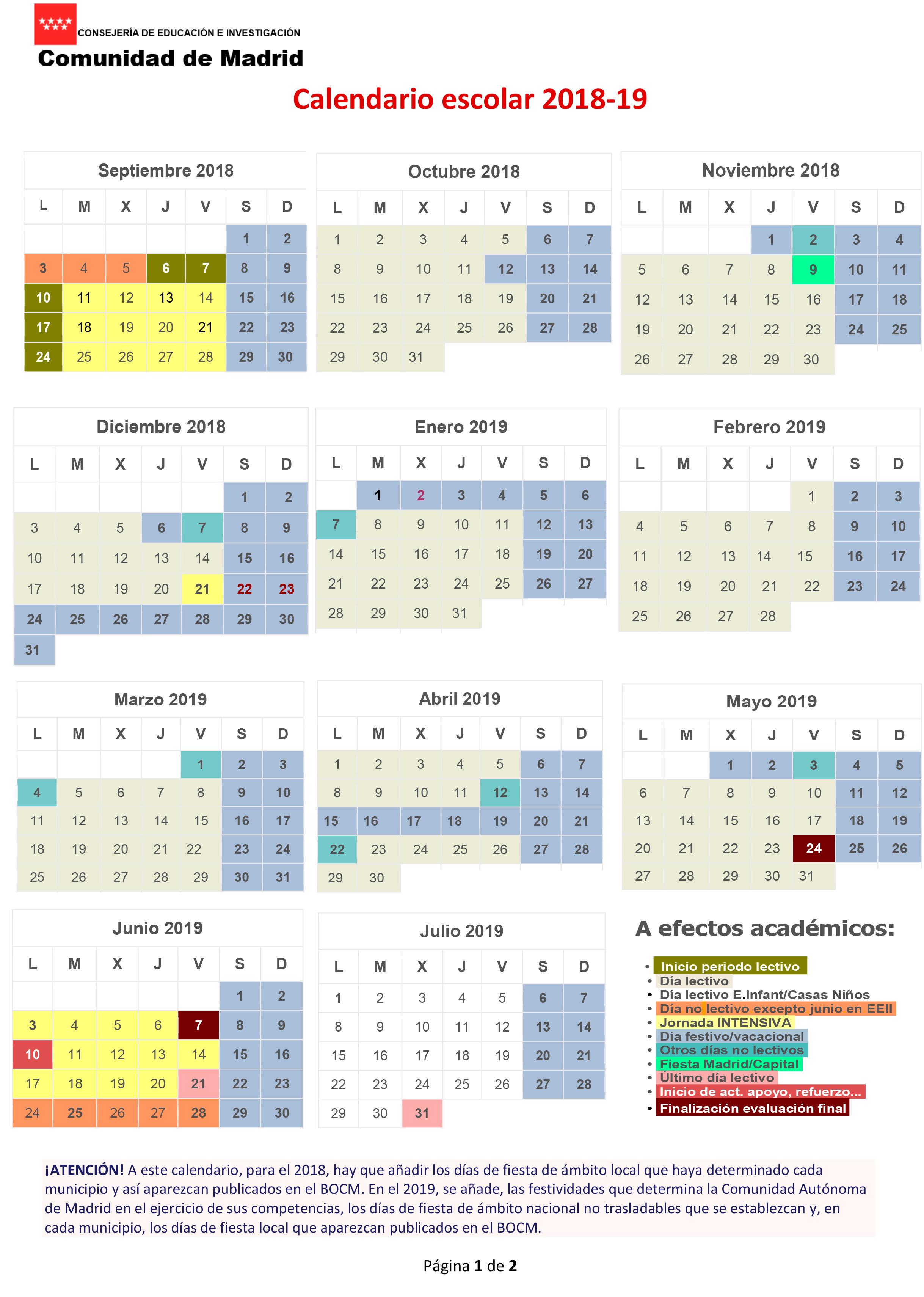 Calendario escolar 2018-19